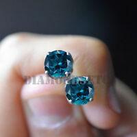1.5CT Blue Topaz Diamond 14K Gold Finish Stud Earring Screw Back Wedding Gift