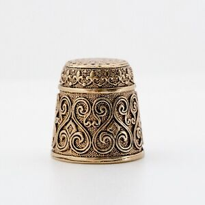 Thimble FLORAL Ethnic Pattern Needlework Solid Brass Metal Russian Souvenir