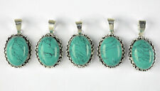 Green Turquoise Gemstone Handmade 925 Sterling Silver Plated 2Pcs Gift  Pendant