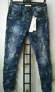 JEWELLY Damen Jeans Baggy Boyfriend geblümt Blumen Muster Herbst Modell 34-42