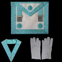 masonic regalia-CRAFT MASTER MASON (MM) APRON & COLLAR PACKAGE + FREE GLOVES