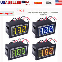 "4pcs Digital Voltmeter Waterproof Two-Wires 0.56"" DC 2.5-30V Pressure Voltmeter"