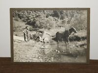 "VINTAGE 6 1/2"" X 4 3/4"" OLD DOUBLE COLA TRUCK & HORSE IN RIVER STREAM PHOTO"