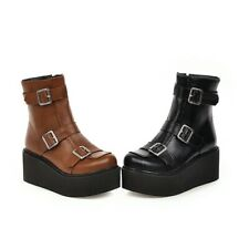 Womens Ankle Boots Wedge Heel Punk Round Toe  Booties Platform Shoes Side Zip