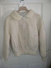 Vintage Woman's Greek Knitwear Hand Woven Ivory Full Zip Jacket - Medium