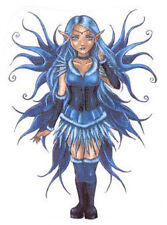 Rare BLUE CORSET FAIRY WOOD FOLK STICKER/VINYL DECAL By Delphine Demers