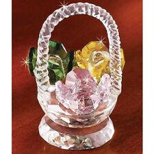 CRYSTAL ROSE FLOWER BASKET FIGURINE new In box deluxe SALE!