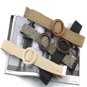Women Wide Belt Fake Straw Braided Waist Belt Round Wooden Smooth Buckle Belts