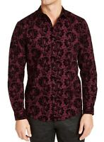 INC Mens Shirt Purple Size XL Button Down Flocked Paisley Longsleeve $69 #090