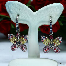 NATURAL HEATED FANCY COLOR SAPPHIRE BUTUERFLY EARRINGS 925 STERLING SILVER