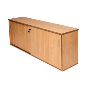Office Lockable Credenza Sliding Door Buffet Unit 1800mm or 1200mm Beech & White