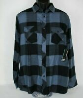 Burnside NWT Men's Soft Flannel LS Shirt Black Grey Checked Button Down Large