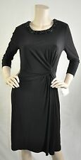 Anne Klein NWT 3/4 Sleeve Embellished Cocktail Dress  Jersey Black Size 10 $139