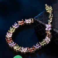 Vogue Design Gold Filled Colorful Swarovski Crystal Tennis Chain Link Bracelets
