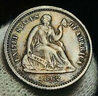 1862 Seated Liberty Half Dime 5C High Grade AU Civil War US Silver Coin CC2425