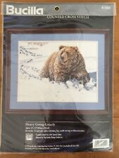 Vtg Bucilla Counted Cross Stitch Heavy Going Grizzly 40.6 x 30.5cm 14 Count Aida