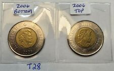 Both Types 2006 CANADA  2 Dollar Toonie Coin 2006 on the Bottom and the Top T28d