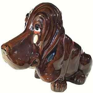 """BASSET HOUND DOG PLANTER PEARL TEAR DROP SAD FACE 7 1/2"""" ENESCO BROWN VINTAGE"""