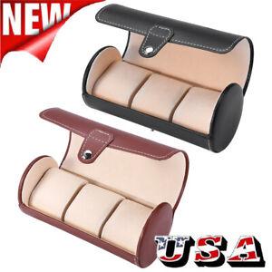 3 Slot Watch Travel Case Roll Organizer Portable Storage Case Box PU Leather Men