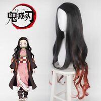 MUZI WIG Peluca de anime Cosplay para Demon Slayer Kimetsu No Yaiba Kamado Tanjirou Cosplay peluca con casquillo de peluca gratis