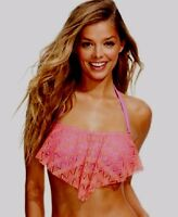 Hula Honey Crochet Flounce Bikini Top Coral/Lilac Size Large