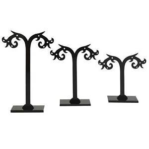 3 x Kunststoff Ohrring Baum 8~12cm Ständer Schmuckdisplay Aufbewahrung, schwarz