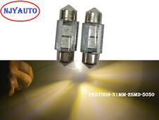 """2Pcs Warm White 31MM 1.22"""" 5050 SMD Dome Festoon LED Bulb For Door Light DE3175"""