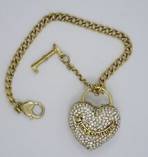 """JUICY COUTURE FULL PAVE RHINESTONE HEART AND KEY BRACELET ~ 7"""""""