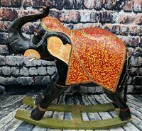 Wooden Hand Carved Elephant Rocker India Asian African Tribal Folk Art Large