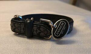 COACH BLACK LEATHER JACQUARD SIGNATURE C DOG PET COLLAR EXTRA SMALL XS 4003