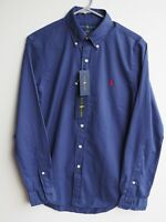 BNWT Genuine POLO RALPH LAUREN Navy Blue Slim Fit Long Sleeve Shirt SMALL 36-38""