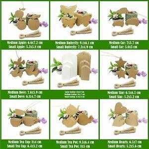 Kraft Paper Gift Tags Card Label Multi-shapes Brown White free string UK Seller