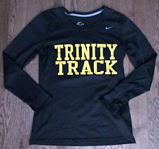 EUC NIKE dri-fit Trinity College Track Athletic Long Sleeve Black Shirt, Women S