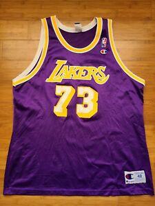 Vintage Mens Champion Los Angeles Lakers Dennis Rodman Jersey Size 48-Purple