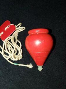 Vintage Duncan Brand☆Wooden Spinning Top Red WITH Orginal string! Super cool!!