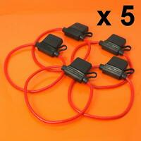 5 x Inline Fuse Holder 12V 30A DC For Standard Blade Fuses Splash Proof Car Bike