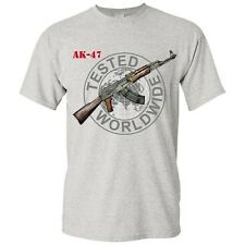 Russian Graphic Cotton Gray T-Shirt AK-47 Kalashnikov Gun Shirt