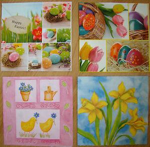 4 sets paper napkins, Easter eggs,daffodils, serviette, 33cm- 2pcs, decoupage
