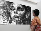 Huge Urban princess Street art canvas from Australia face girl abstract Quality