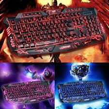 3 Colors Crack Illuminated LED 114-Key Backlight USB Wired PC Gaming Keyboard US