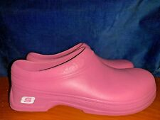 SKECHERS Slip Resistant PINK BREAST CANCER CLOGS Nurse Womens Shoes Sz 10 👣b6