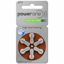 NEW 6 pcs Power One PowerOne Hearing Aid Batteries size P312 Expire Early 2021