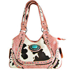 PINK COW WITH BLUE STONE LOOK SHOULDER HANDBAG CONCEALED CARRY WESTERN PURSE