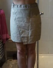 Topshop Size 10 cream leather look cross over skirt