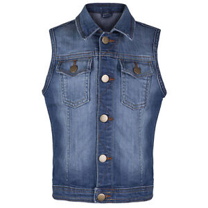 KIDS SLEEVELESS DENIM WAISTCOAT WITH AND WITHOUT FRAYED CUFFS EX M/S SIZES 5-14