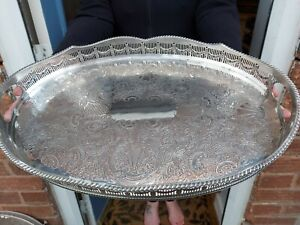An Antique Silver Plated Wave Effect Gallery Tray.sheffield.1920.s.ornate.2.