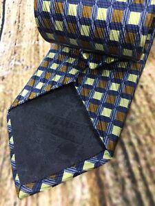 Jhane Barnes Signature Neck Tie Gold Bronze Blue Squares 100% Silk Made in Japan