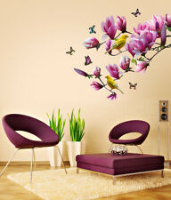 690009 | Wall Stickers Floral Magnolia Branch Purple Decoration