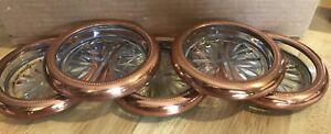 SET OF (5) FIVE VINTAGE CUT GLASS GOLD RIMMED COASTERS LQQK!