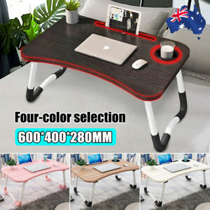 Laptop Stand Table Foldable Desk Bed Computer Study Adjustable Portable Cup Slot